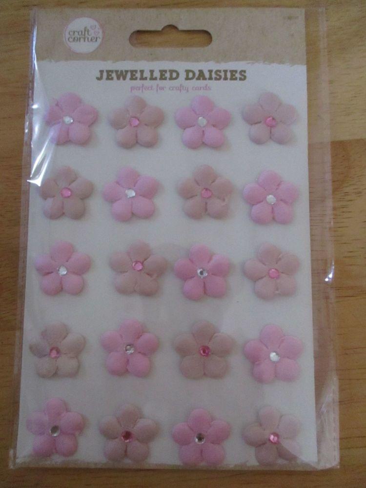 Pink Jewelled Daisies Stickers - Craft Corner