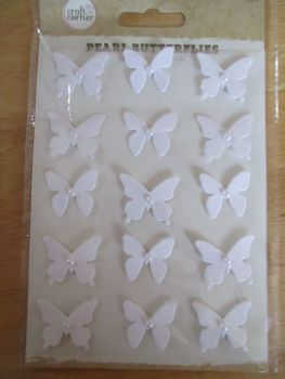 White Pearl Butterflies Stickers - Craft Corner