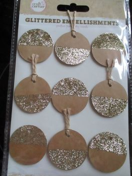 Brown With Gold Glittered Circles Embellishments - Craft Corner