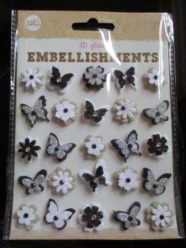 Black / Silver Butterflies & Flowers - 3D Glittered Embellishments - Craft Corner