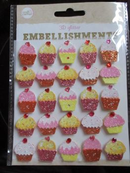 Pink / Yellow / Red Cupcakes - 3D Glittered Embellishments - Craft Corner