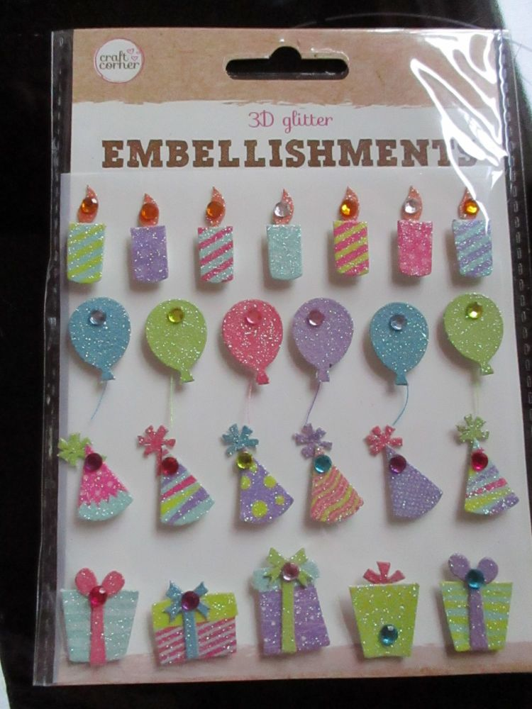 Party Hats / Candles / Gifts - 3D Glittered Embellishments - Craft Corner