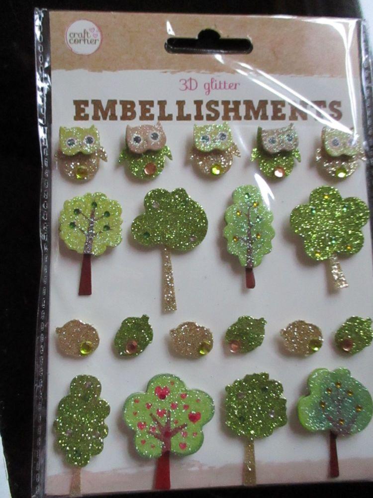 Trees / Leaves / Owls - 3D Glittered Embellishments - Craft Corner