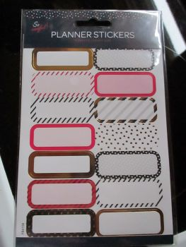 Gold / Pink / Black Rectangles Borders - Planner Stickers - So Useful