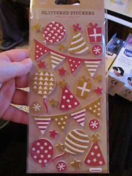 Glittered Pink / Gold Party Stickers - Craft Corner