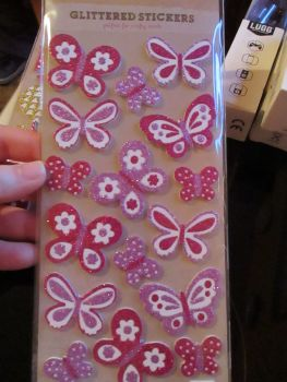 Glittered Pink / Purple Butterflies Stickers - Craft Corner