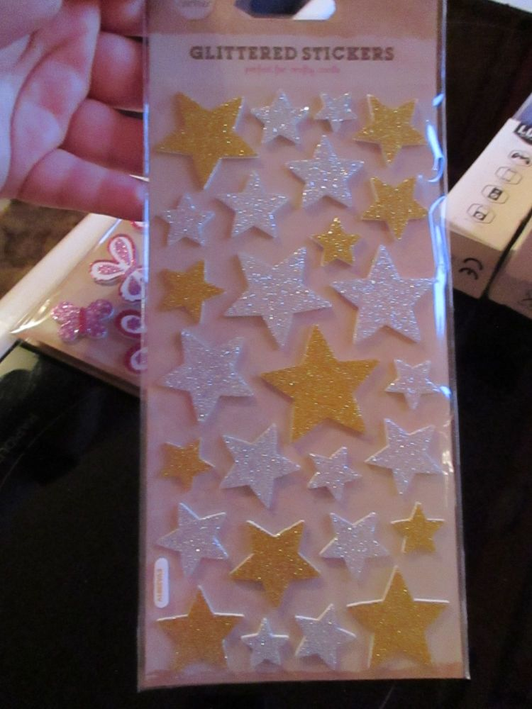 Glittered Gold / Silver Stickers - Craft Corner