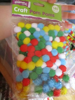 Coloured Craft PomPoms / Pom Poms 140pc - Crafty Creations