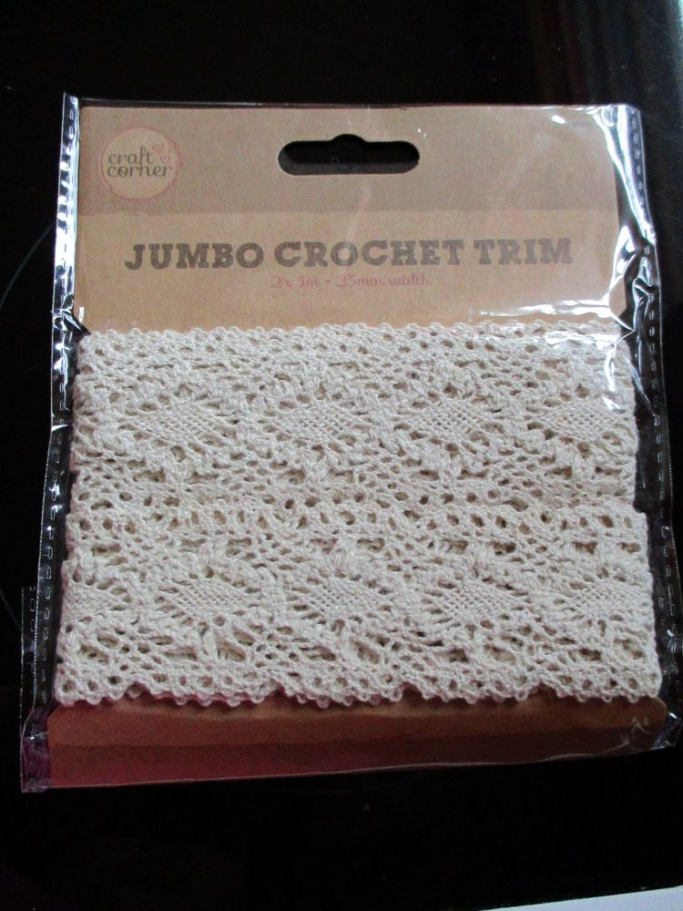 Jumbo Crochet Trim 2Pk 3.5cm 1 Meter - Craft Corner