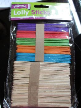 Plain & Coloured Lolly Stick 80pc - Crafty Creations
