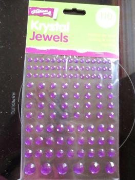 Purple Krystal Jewels 110pc Self Adhesive Gems - Crafty Creations