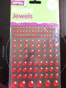 Red Krystal Jewels 110pc Self Adhesive Gems - Crafty Creations