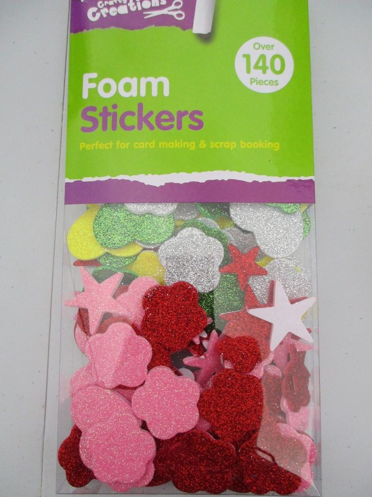 Pink / Red / Yellow / Green Shapes - Crafty Creations 140pc Foam Self Adhes