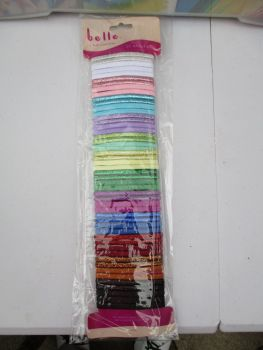 50pc Assorted Colour Metallic Elasticated Hairbands - Belle