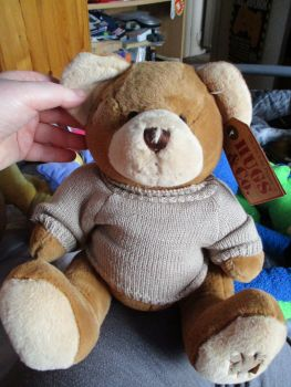 Brown Patch Bear with Brown Jumper - Hugs & Co - Soft Toy
