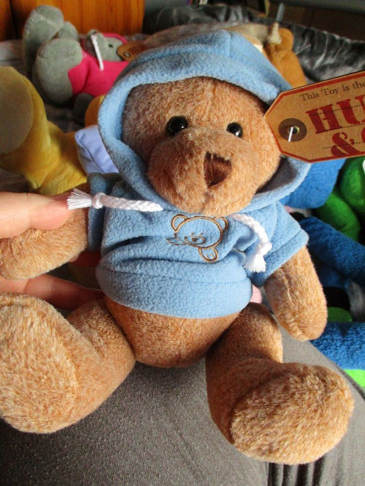 Medium Brown Bear with Blue Hoodie - Hugs & Co - Soft Toy