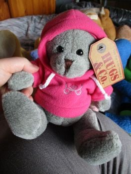 Medium Grey Bear with Pink Hoodie - Hugs & Co - Soft Toy