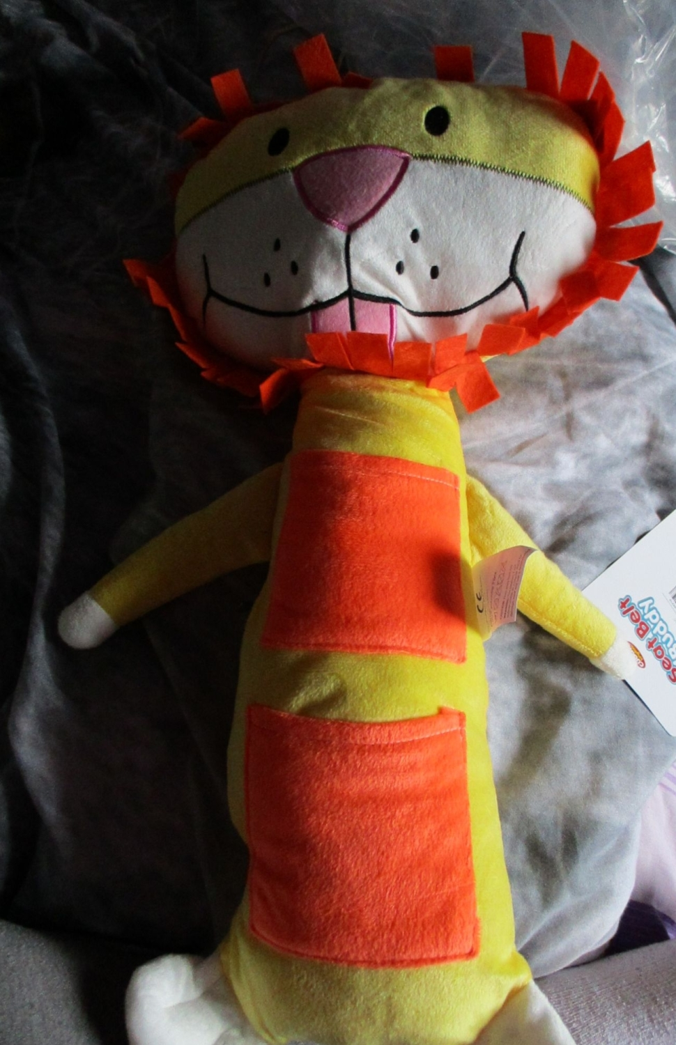 Orange Lion Giant Seat Belt Buddy - Cuddle Kingdom - Soft Toy