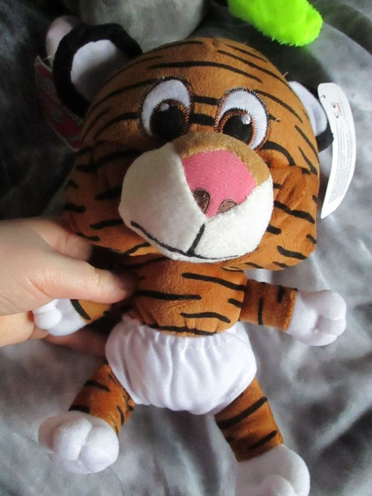 Tan / Black Tiger with White Nappy - Character Co - Soft Toy
