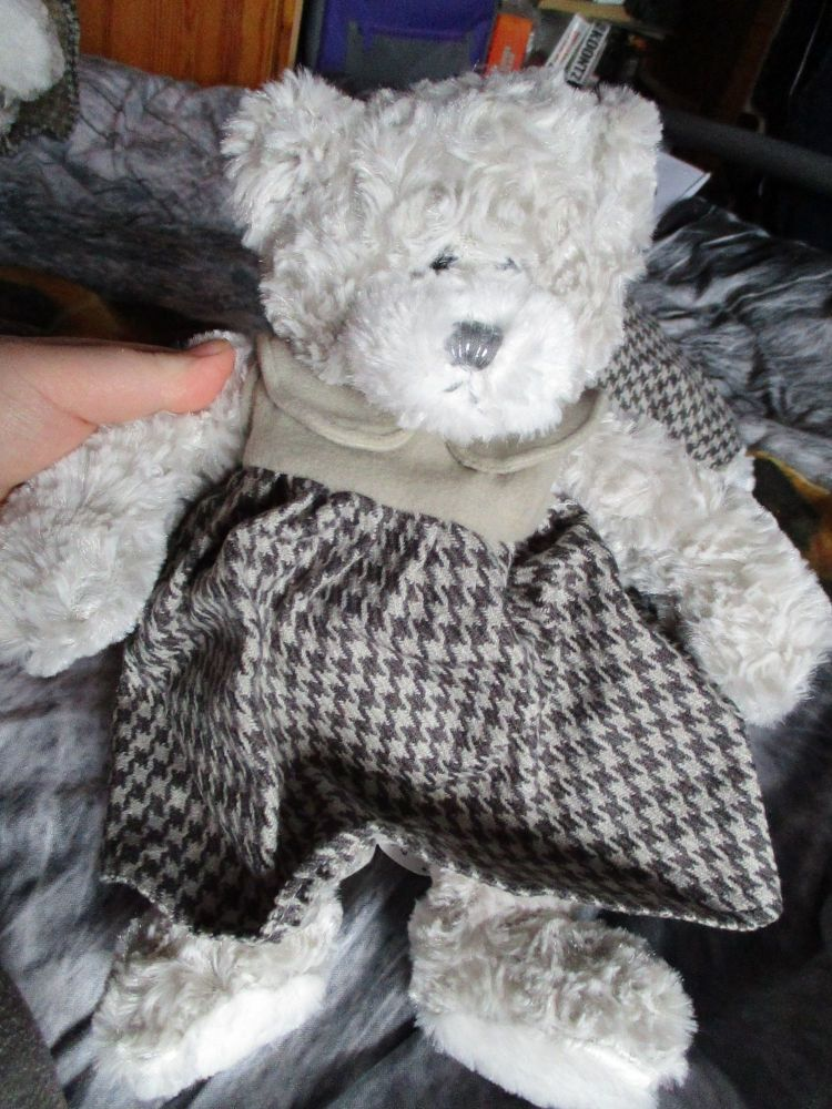 Grey Pinafore Dress Bear - Cloudy Lane - Soft Sensations - Soft Toy