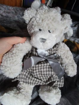 Grey Dress W/Ribbon Bear - Cloudy Lane - Soft Sensations - Soft Toy