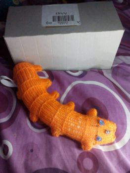 Orange Body with Clear Blue Eyes Scuttlepillar - Knitted By KittyMumma