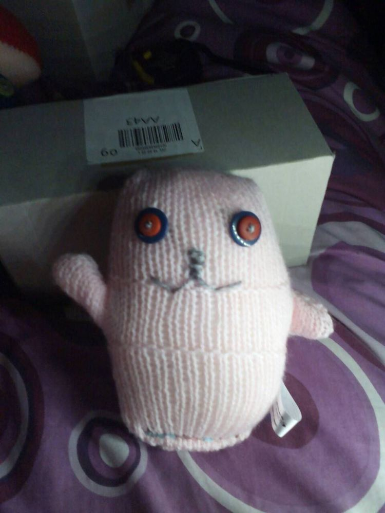 Pink with Blue/Red Eyes Ted - Knitted By KittyMumma