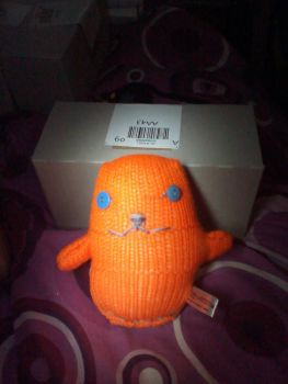 Orange with Blue Eyes Ted - Knitted By KittyMumma