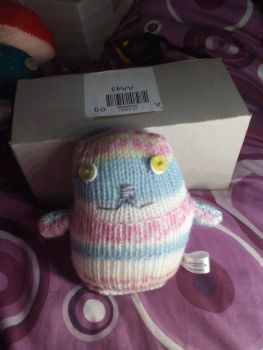 White Yellow Blue Pink Patterned with White/Yellow Eyes Ted - Knitted By KittyMumma