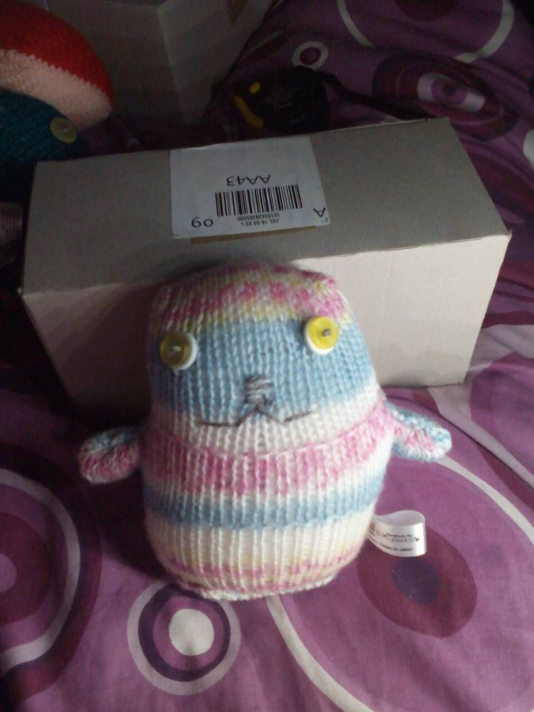 White Yellow Blue Pink Patterned with White/Yellow Eyes Ted - Knitted By Ki