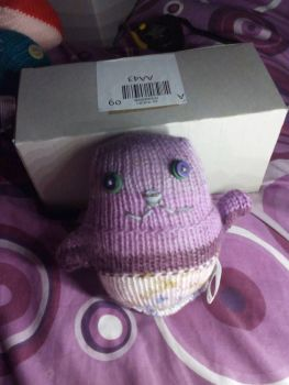 Purple Floral with Green/Purple Eyes Ted - Knitted By KittyMumma