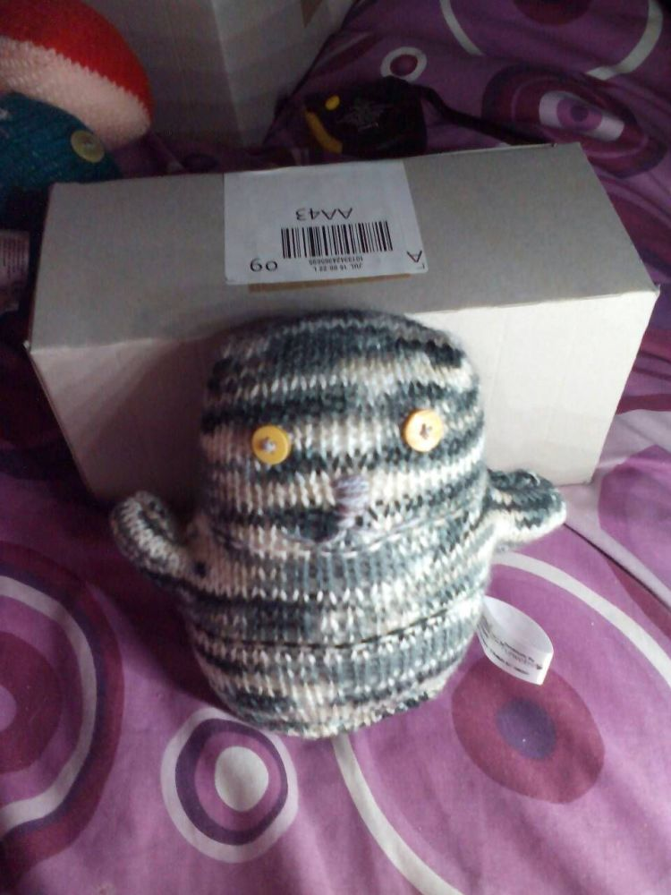 Grey Rainbow with Yellow Eyes Ted - Knitted By KittyMumma