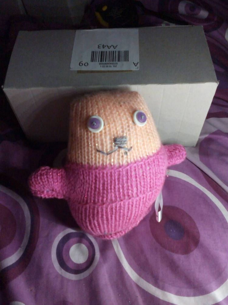 Glitter Pink and Peach with White/Pink Eyes Ted - Knitted By KittyMumma