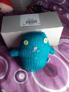 Dark Turquoise with Green Eyes Ted - Knitted By KittyMumma