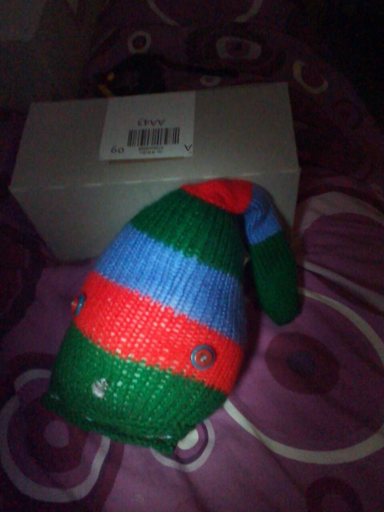 Blue, Red and Green Striped With Blue/Red Eyes Jumbo Meeser - Knitted By Ki