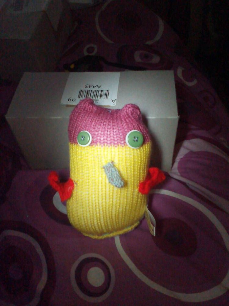 Mauve, Blue and Yellow Body Red Wings with White/Green Eyes Owl - Knitted B