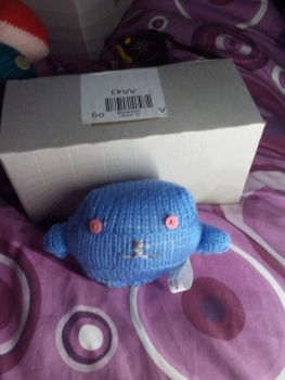 Mid Blue Body with Pink Eyes Mini Ted - Knitted By KittyMumma