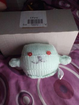 Mint Green Body with Red Eyes Mini Ted - Knitted By KittyMumma