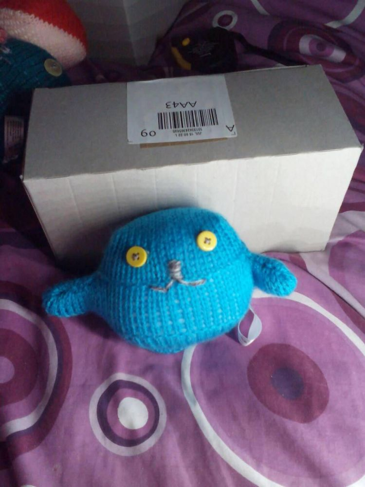 Mid Blue Body with Yellow Eyes Mini Ted - Knitted By KittyMumma