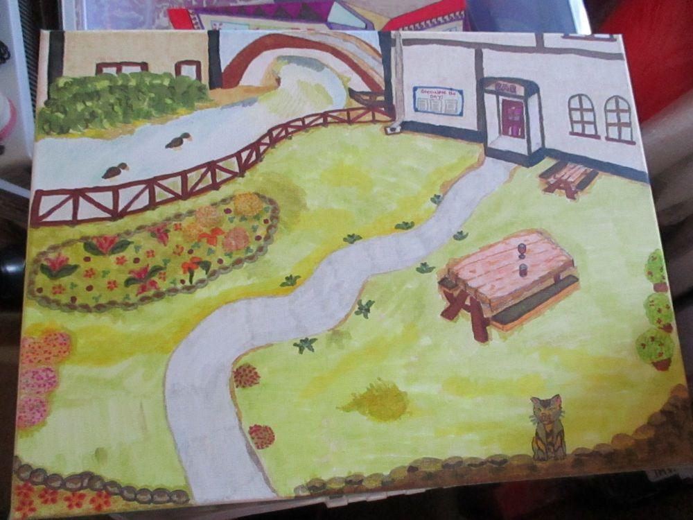 Riverside Pub Garden - Box Frame Canvas - Kitty Johnson