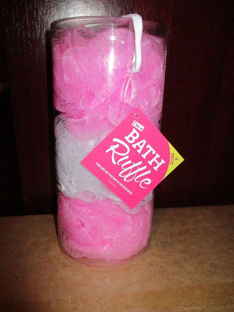 Pink / White Bath Ruffle Scrunchie 3pk