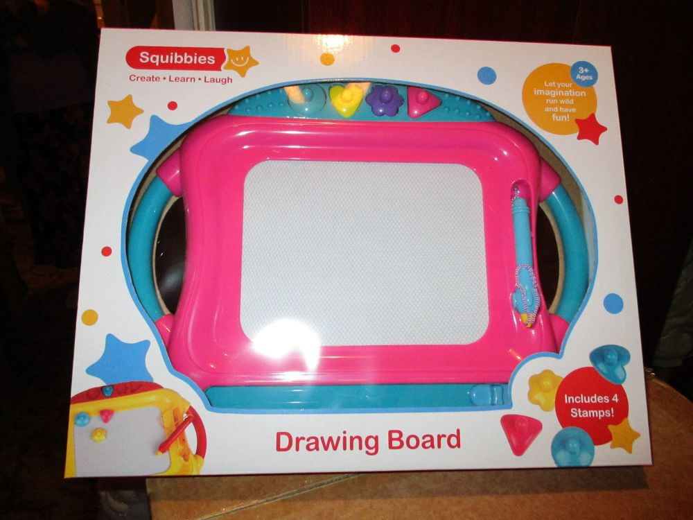 Pink Giant Doodler Drawing Board - Includes 4 Stamps - Squibbies