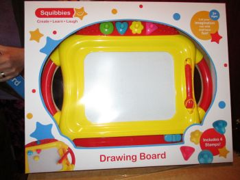 Yellow Giant Doodler Drawing Board - Includes 4 Stamps - Squibbies