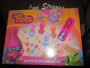 Glitter Tattoo & Nail Art Set - Dreamworks Trolls