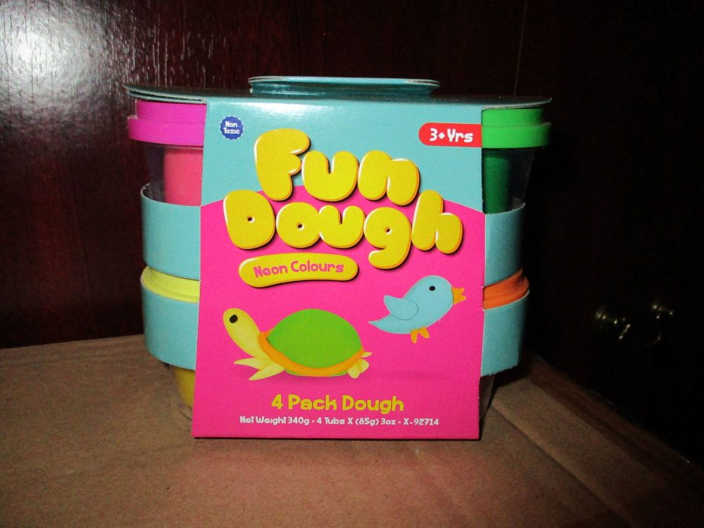 Pink / Green / Yellow / Orange 85g Fun Dough Neon Pack