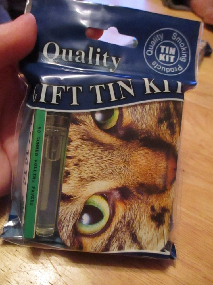Tabby Cat Print Hinged Tobacco Tin Papers & Clear Lighter Gift Set