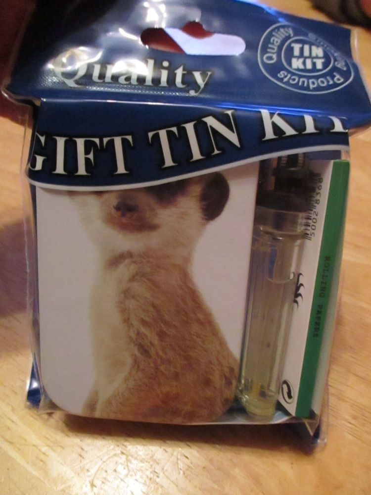 Meerkat Print Hinged Tabacco Tin Papers & Clear Lighter Gift Set