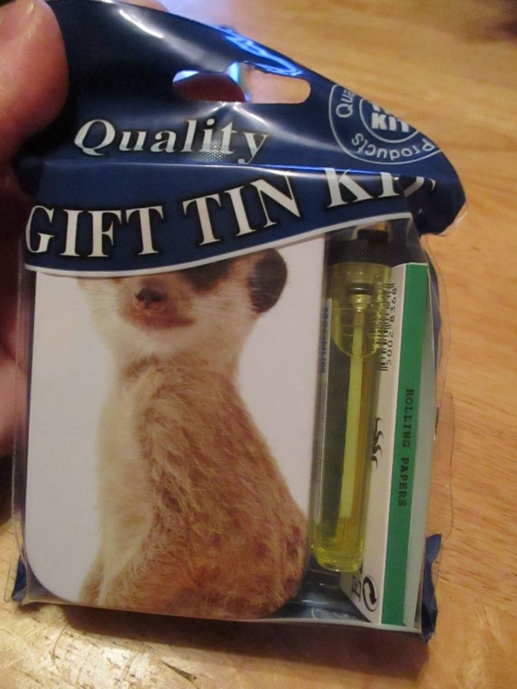 Meerkat Print Hinged Tabacco Tin Papers & Yellow Lighter Gift Set