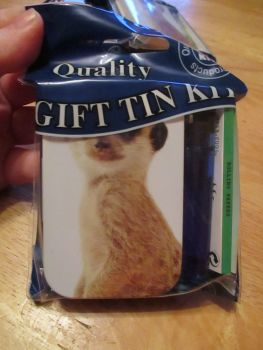 Meerkat Print Hinged Tabacco Tin Papers & Blue Lighter Gift Set