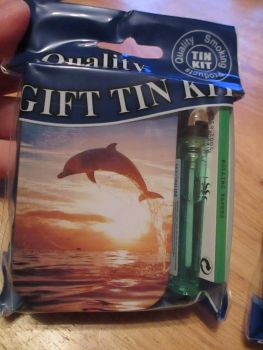 Dolphin Print Hinged Tabacco Tin Papers & Green Lighter Gift Set